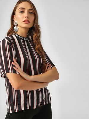KOOVS Stripe Detail Crew Neck Top