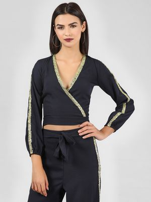 KOOVS Sequin Tape Crop Top