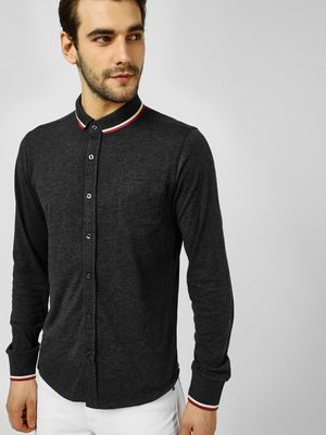 Brave Soul Contrast Collar Jersey Shirt