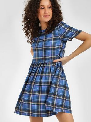 KOOVS Multi-Check Skater Dress