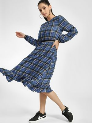 KOOVS Multi-Check Midi Dress