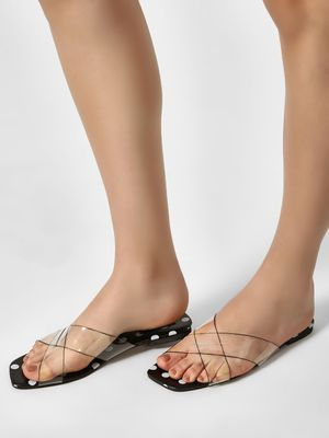 Sole Story Clear Strap Polka Dot Sandals