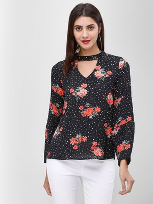 Cover Story Floral Printed Choker Neck Top