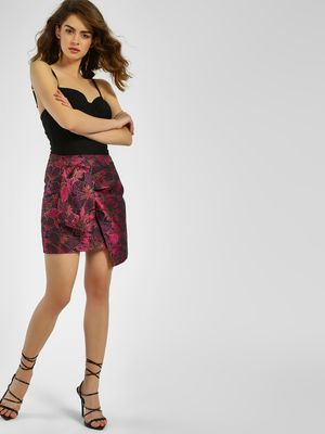 KOOVS Floral Jacquard Wrap Around Shorts