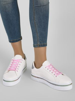 New Look Glitter Contrast Lace-Up Sneakers