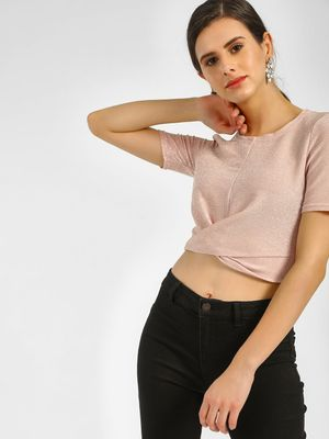 New Look Shimmer Twisted Front Crop Top