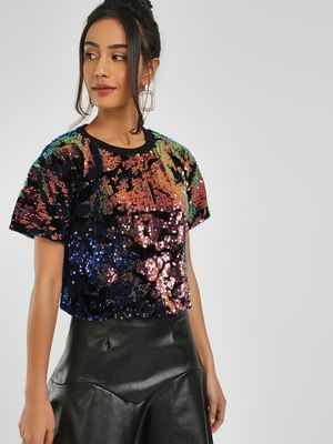 KOOVS Sequin Detail Crop Top