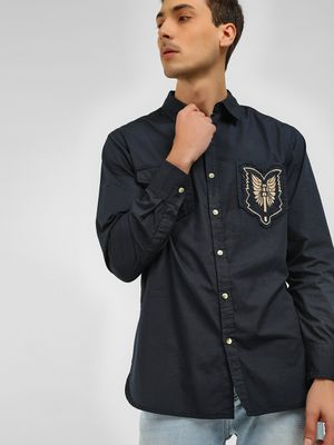 Noble Faith Embroidered Badge Detail Casual Shirt