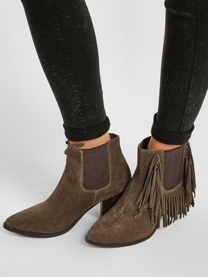 KOOVS Frill Detail Heeled Suede Boots
