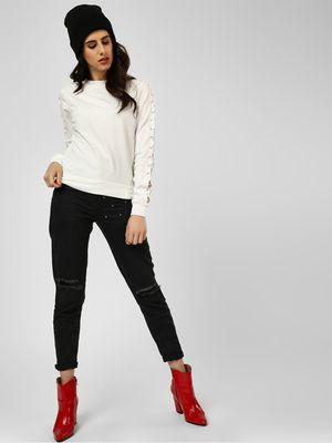 All Good Things Studded Knee Slit Jeans