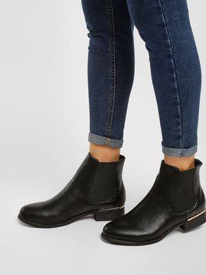 Truffle Collection Textured Tab Ankle Heeled Boots
