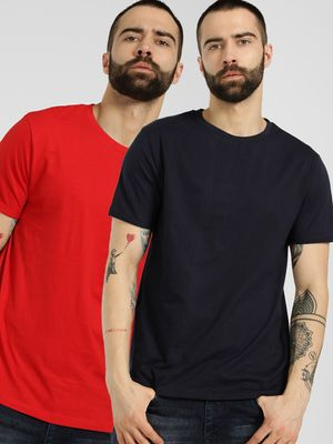 KOOVS Basic Crew Neck T-Shirt (Pack Of 2)