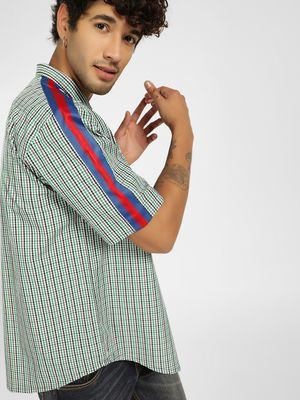 KOOVS Micro Check Side Tape Shirt