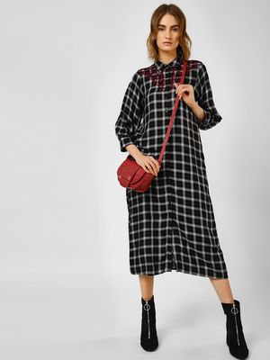 Cover Story Check Embroidered Shirt Dress