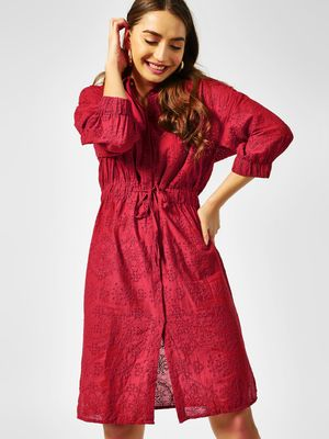 Cover Story Broderie Detail Shirt Dress
