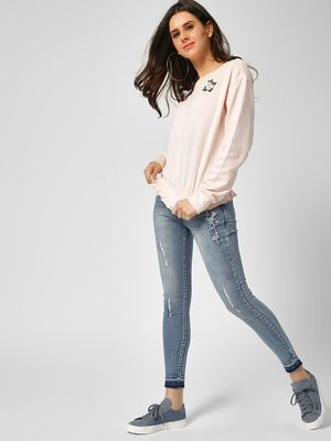 Cover Story Embroidered Mid Rise Skinny Jeans