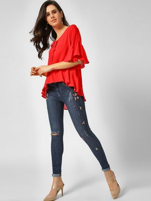 Cover Story Floral Embroidered Distressed Skinny Jeans