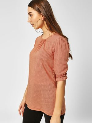 Cover Story Printed Short Sleeve Blouse