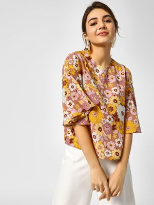 Cover Story Floral Print Bell Sleeves Blouse