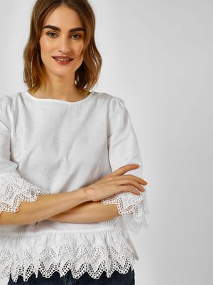 Cover Story Broderie Long Sleeves Top