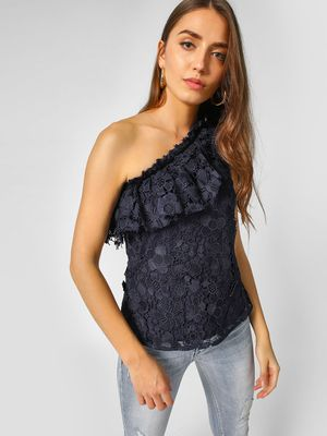 Cover Story One Shoulder Lace Top