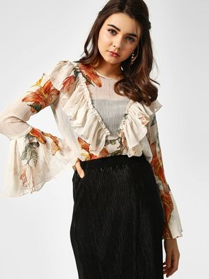 Cover Story Floral Print Ruffle Top