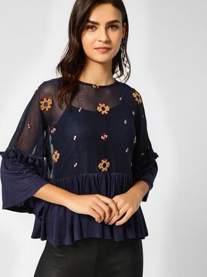 Cover Story Floral Print One Shoulder Blouse
