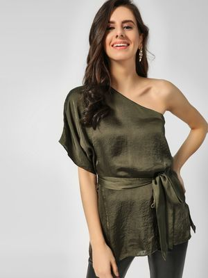 Cover Story One Shoulder Front Tie Up Blouse