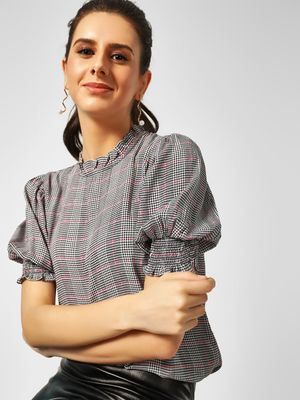 Cover Story Ruffled Neck Checkered Blouse
