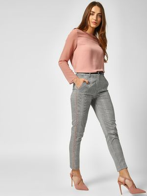 Cover Story Side Stripe Checkered Trousers