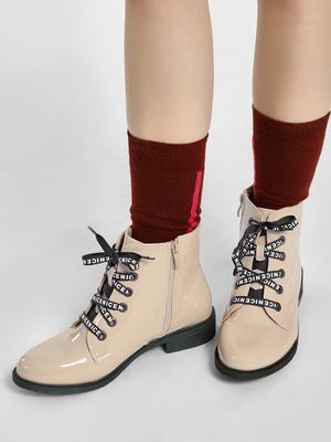 Sole Story Slogan Lace-Up Patent Boots