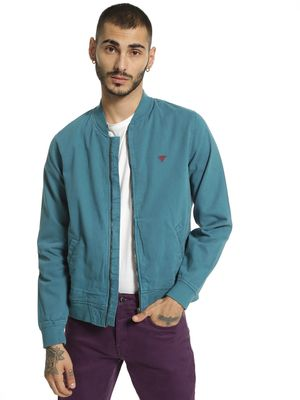 Blue Saint Overdyed Long Sleeve Bomber Jacket