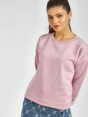 KOOVS Studded Round Neck Sweatshirt