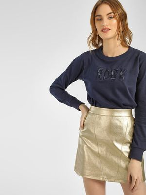 KOOVS Slogan Embellished Embroidered Sweatshirt