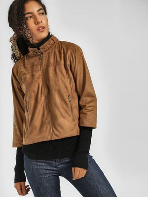 KOOVS Long Sleeve Front Zipper Jacket