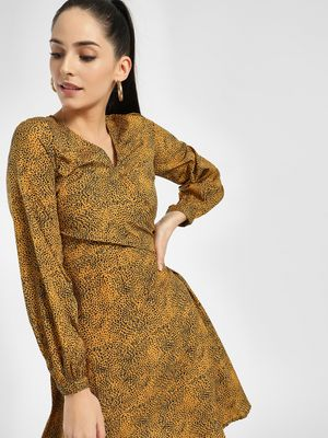 KOOVS Animal Print Wrap A-Line Dress