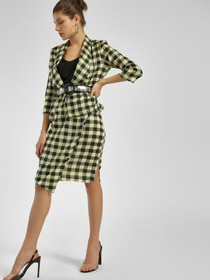 Closet Drama Asymmetric Checkered Midi Skirt