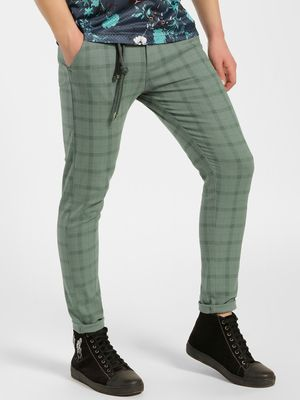KOOVS Windowpane Check Skinny Fit Chinos