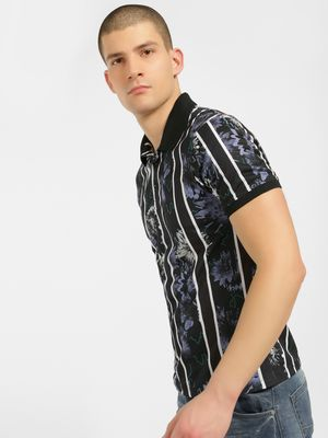 KOOVS Stripe Floral Polo T-Shirt