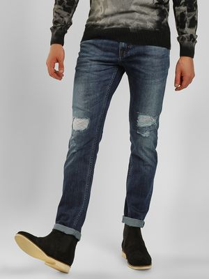 Lee Cooper Washed Distressed Slim Fit Jeans