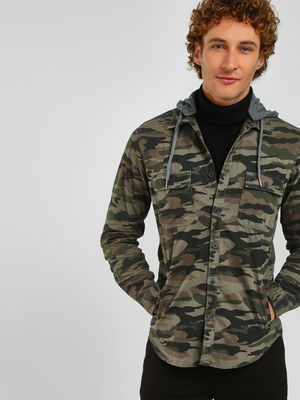 Lee Cooper Camo Print Hooded Shacket