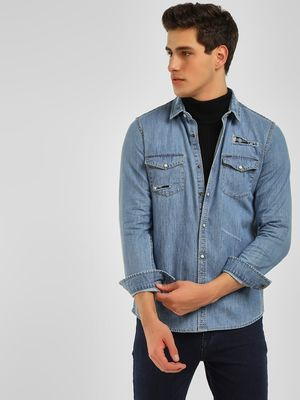 Lee Cooper Washed & Distressed Denim Shirt