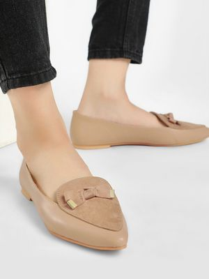 KOOVS Bow Detail Suede Finish Loafers