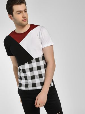 Kultprit Cut & Sew Check T-Shirt