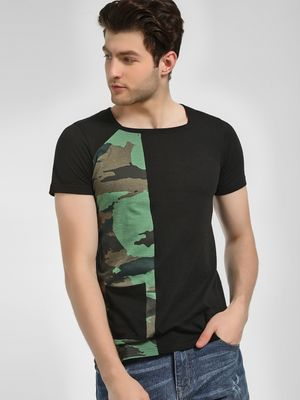 Kultprit Square Neck Camo T-Shirt