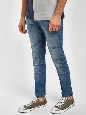 Blue Saint Panelled Slim Fit Jeans