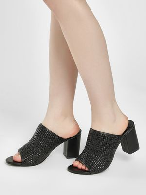 New Look Woven Mule Heeled Sandals