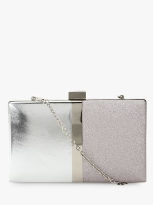 New Look Colour Block Metallic Box Clutch