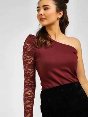 Cover Story One Sleeve Lace Detail Blouse