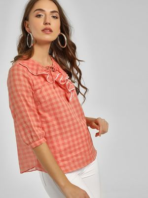 Cover Story Check Ruffled Neck Blouse